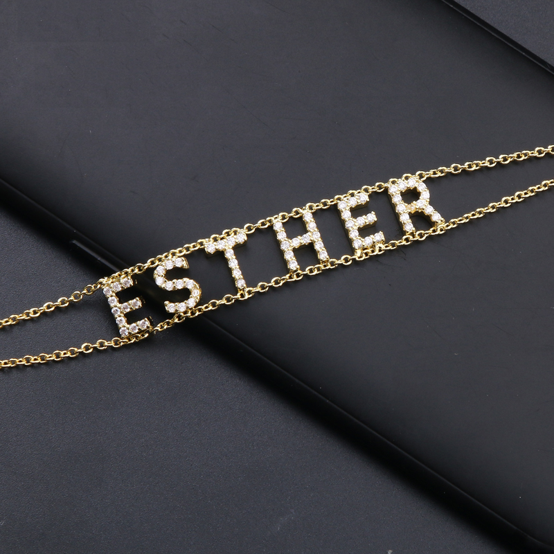 3UMeter Crystal Name Necklace Personalize Choker Custom Necklace Women Pendant Heart Necklace Baby Necklace