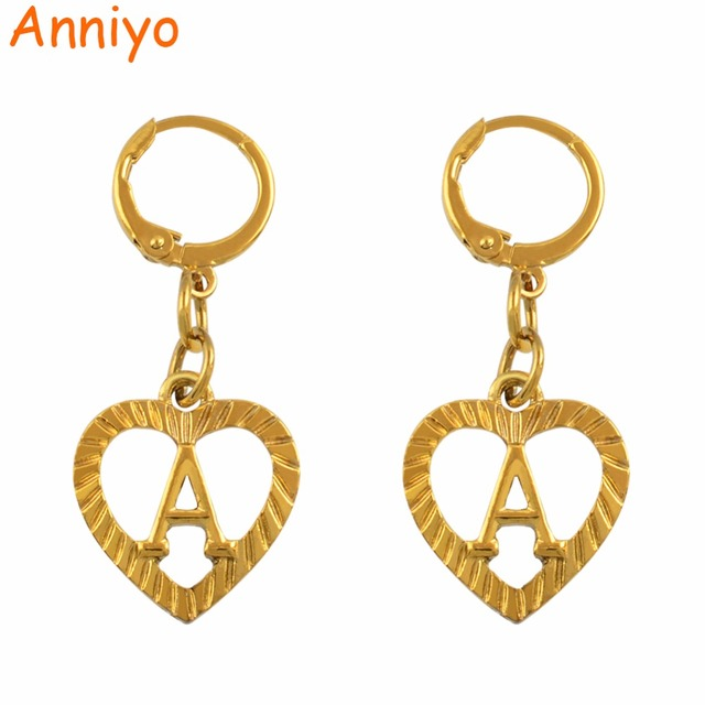 6acc1ae11 Anniyo A-Z Initial Letter Stud Earrings Women English Alphabet Earring  Jewelry Gold Color (More Letter Check My Store) #101206E