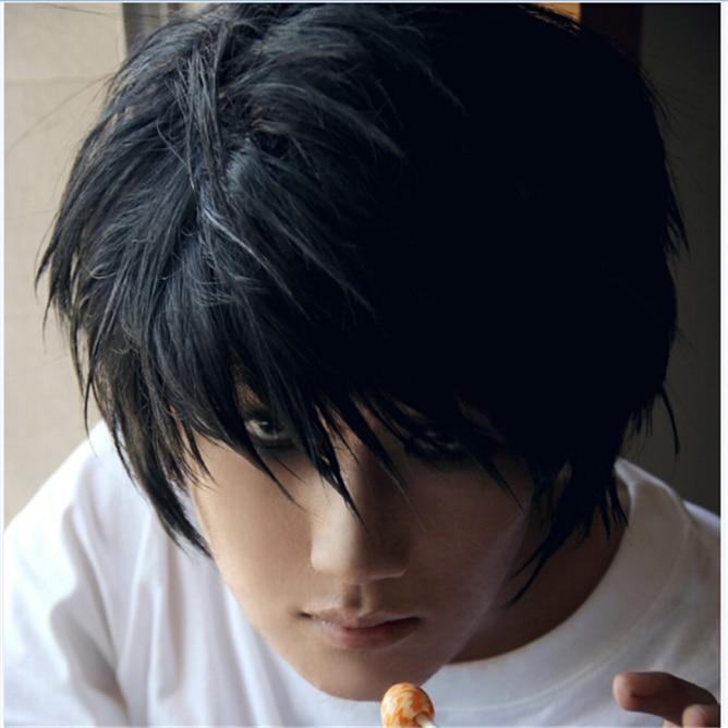 L Lawliet Cheap 35cm Short Stylish Black Synthetic Hair Wigs Death