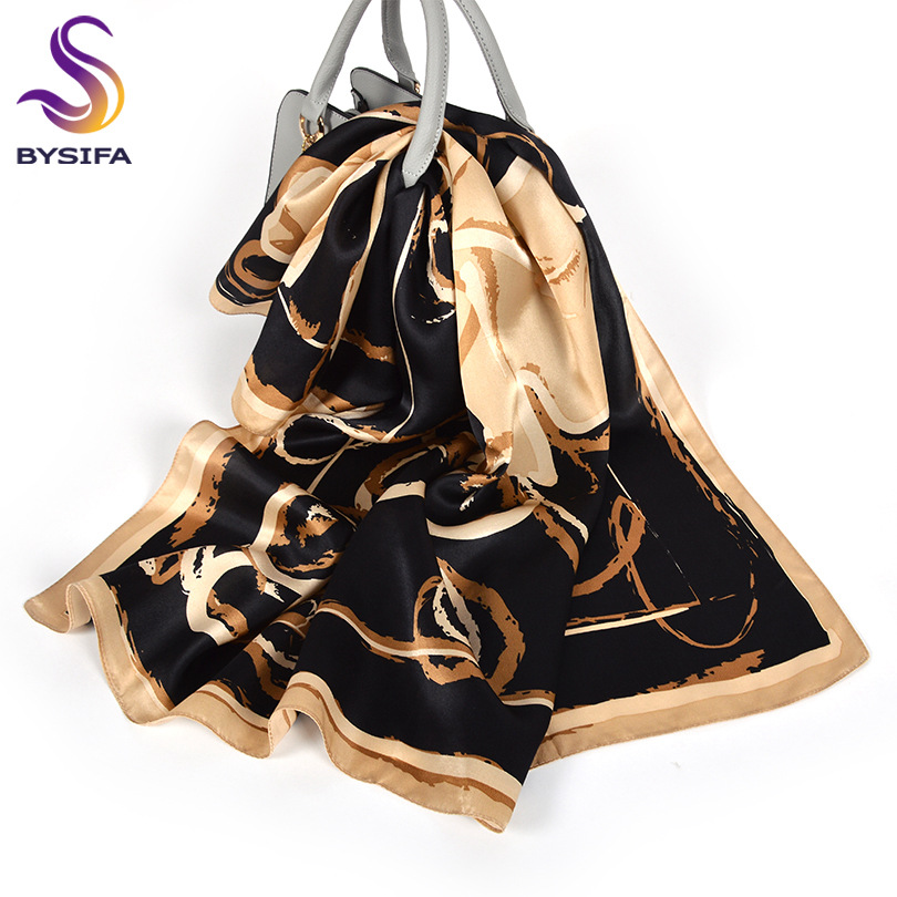 [BYSIFA] Scarves Women Black Khaki 100% Silk Scarf Shawl Fall Winter Satin Square Scarves Wraps Printed Grape Design Hijab Scarf