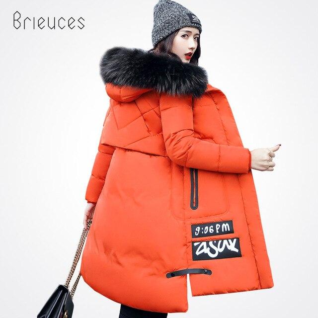 Brieuces Sonbahar Kış Ceket Kadınlar Pamuk Ceket Artı Boyutu 3XL Kış Ceket Kadınlar Kalınlaşmak Sıcak Parka Kadın Kapüşonlu Dış Giyim