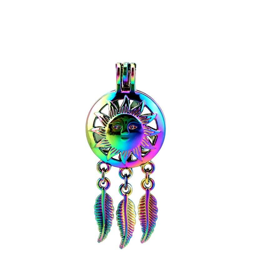 Supply C798 5pcs/lot Rainbow Color Dream Catcher Sun Face Leaf Cage Pendant Pearl Locket Fairytale Party Profit Small Pendants