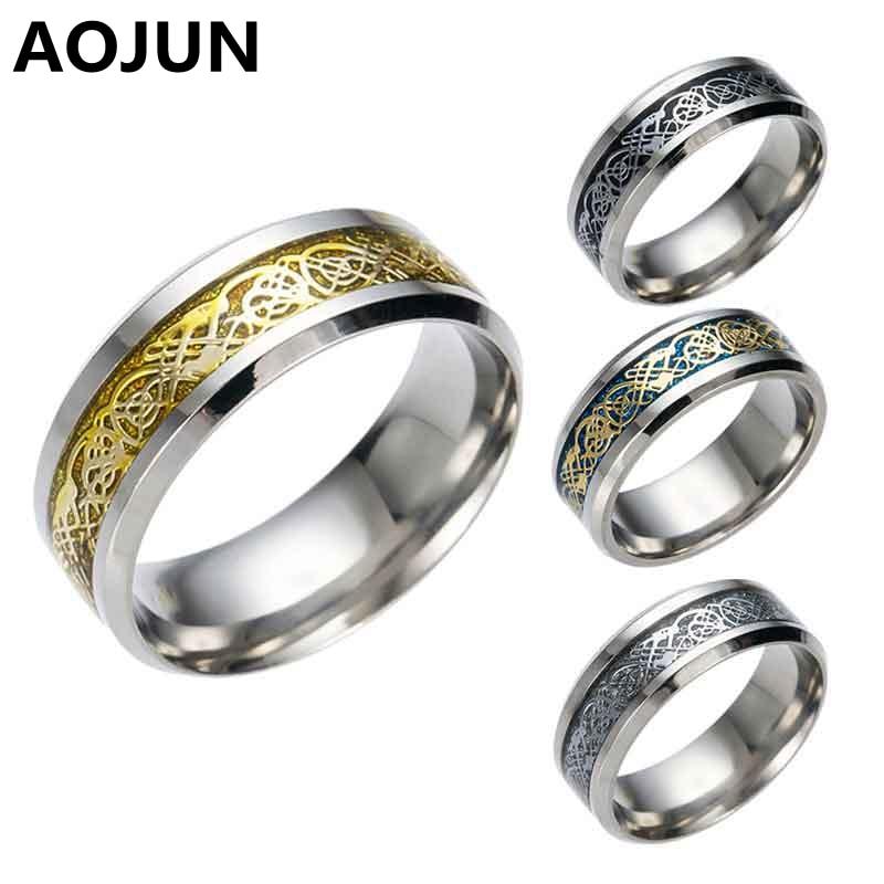 aojun 8mm stainless steel rings fashion men women wedding engagement rings mens punk party geometric patterns - Wedding Rings Mens