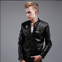 2015 New hot autumn and winter brand casual men clothing Korean Slim thicken leather jackets tide singer costume PU leather coat
