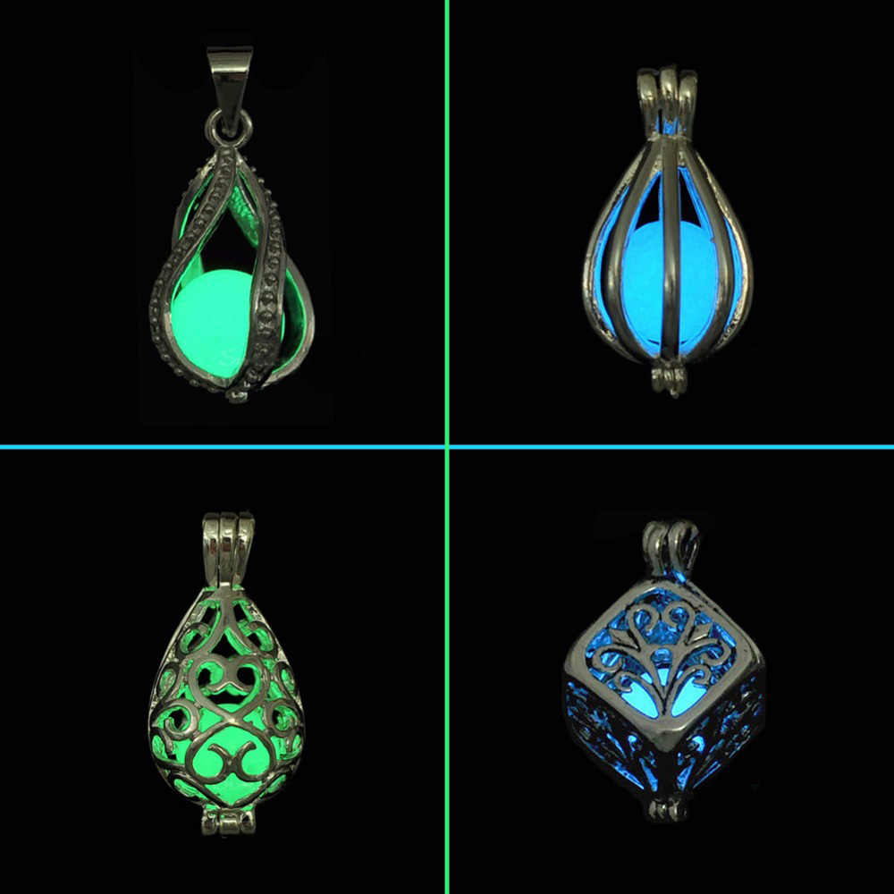 DIY Cage Glow In The Dark Moon Necklace Locket Pendant Glow Necklace For Men Women Party Novel Hallowen Gifts Essential Oil