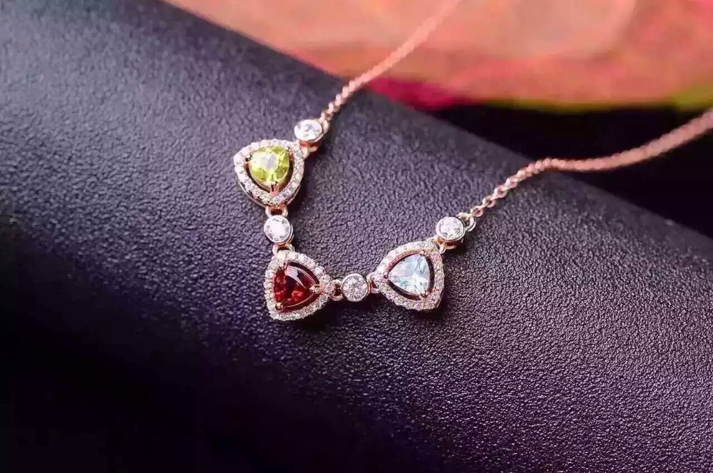 Natural Multicolor garnet topaz crystal Necklace natural gemstone Pendant Necklace S925 silver Fashion Triangle three Jewelry triangle fringed paillette pendant necklace