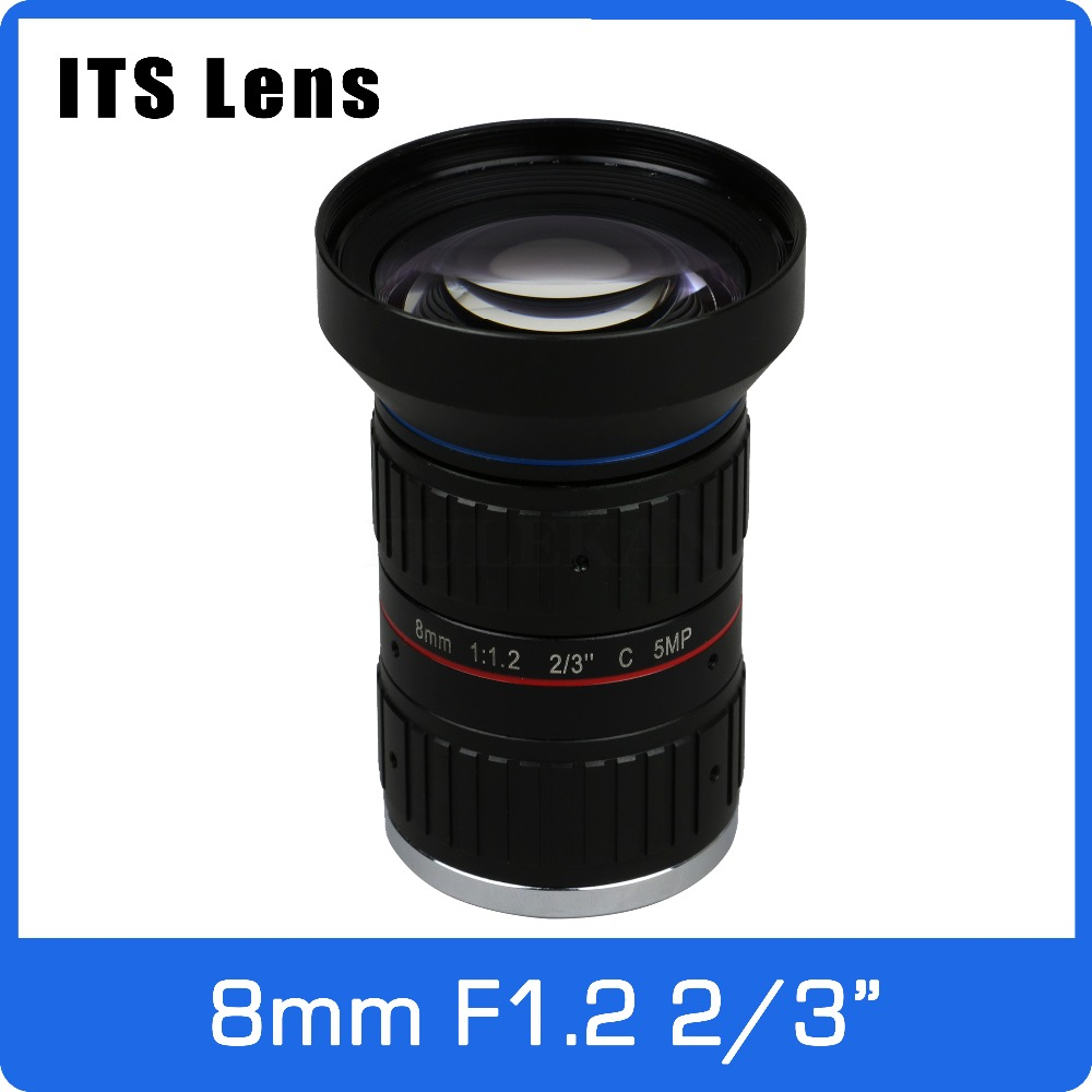 Lovely 2/3 Inch 5mp Its Lens 8mm Big Angle Ultra Starlight F1.2 C Mount For Electronic Police Or Traffic Camera Chills And Pains Video Surveillance