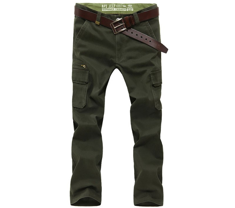 2016 Mens\' Spring Autumn Cotton Cargo Long Pants Pocket Brand AFS JEEP Casual Straight Plus Size Trousers Breathable Pants Khaki (4)