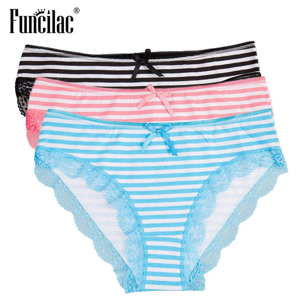 Women Cotton High Waist Lace Briefs Underpants Lingerie Panties Underwear M-XXL