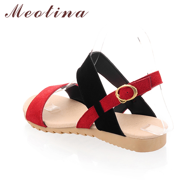 Meotina Shoes Ladies Sandals Beach Wedge Sandals Mixed Color  Women Fashion Comfort Black Shoes Red Low Heels Large size 40 43