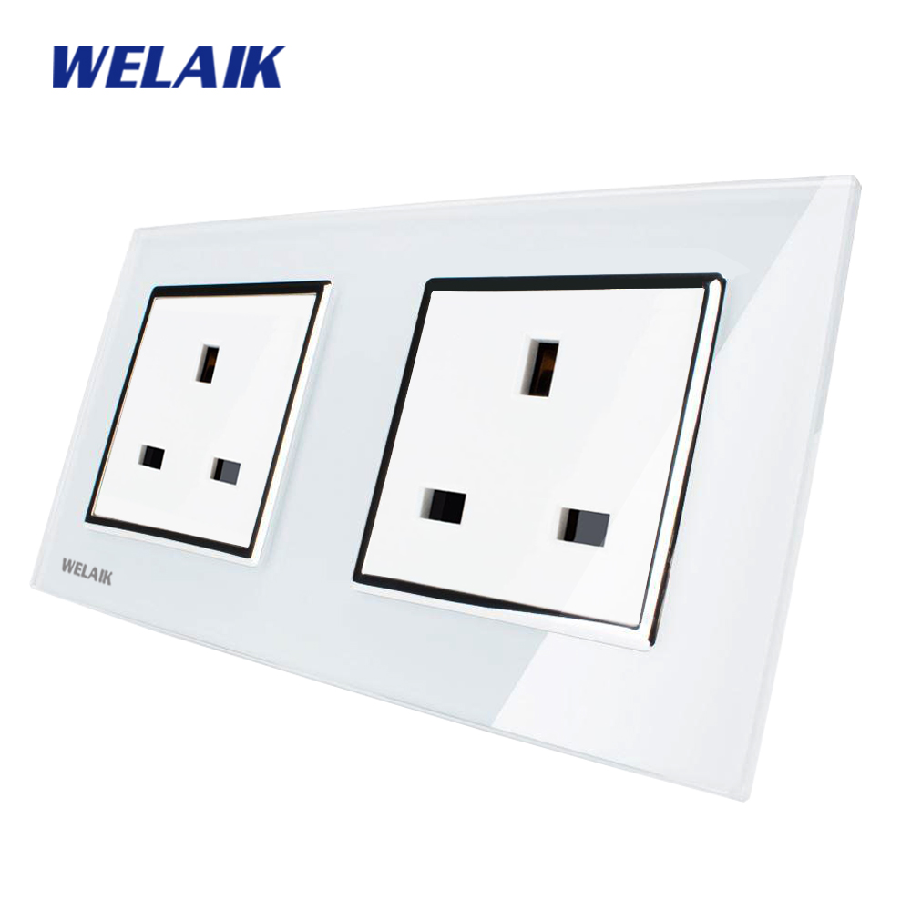 WELAIK Glass Panel Wall British Standard Socket Wall Outlet White Black British UK power outlet AC110~250V A28U8UW/B welaik glass panel wall socket wall outlet white black european standard power socket ac110 250v a38e8e8ew b