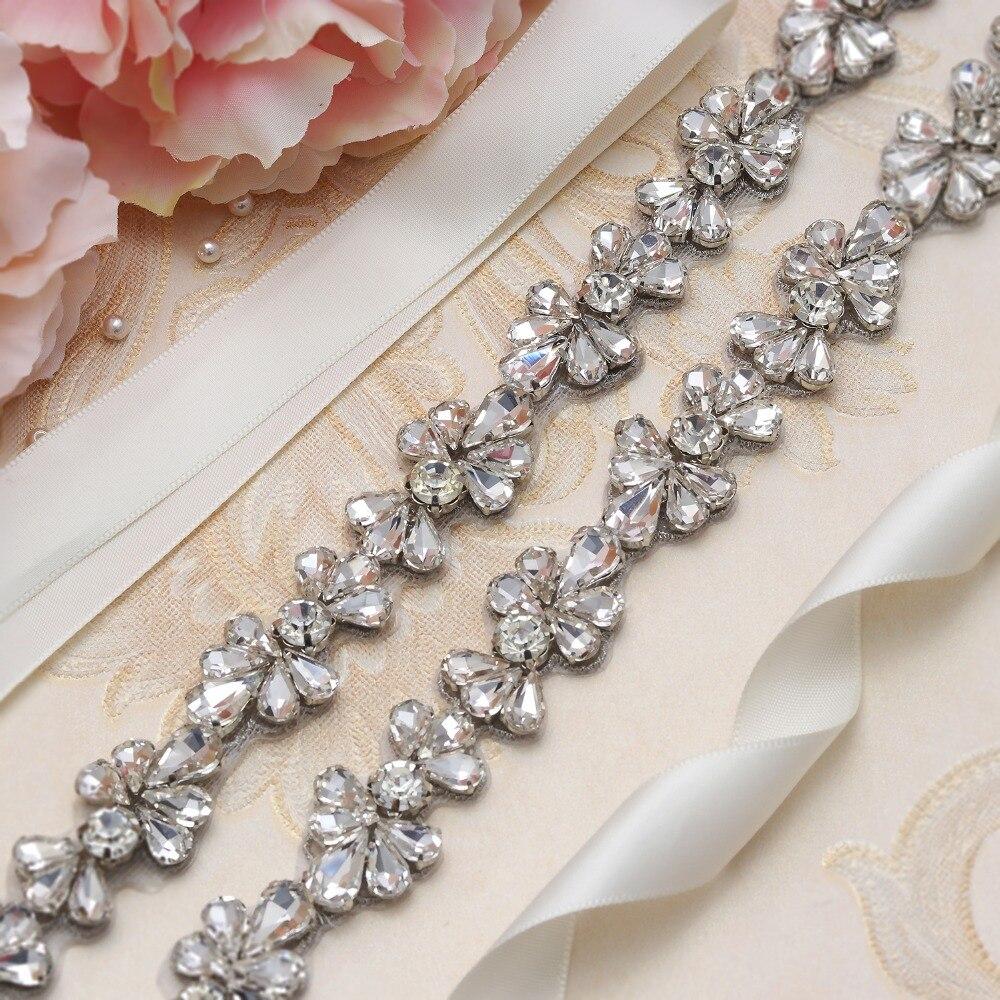 Yanstar Kristall Blume Hochzeit Gürtel Silber Diamant Braut Kleid Gürtel Dünne Strass Gürtel Für Hochzeit Kleider De Mariage Xy808 Starke Verpackung Hochzeit Zubehör