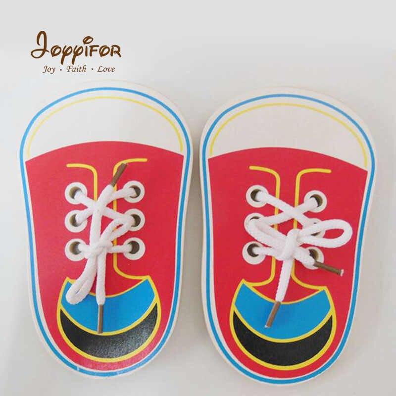 Joyifor ребенка шнуровкой обувь Монтессори образования Детские деревянные игрушки малыша раннего образования Образование по методу монтессори игрушка головоломка
