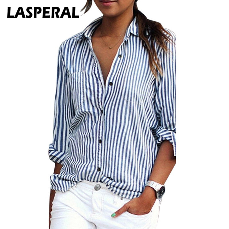 LASPERAL Shirts Women Fashion Striped Long Sleeve Casual Blouse Shirts Female spring Korean style Female Clothes blue lady top