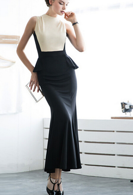 73909374ca8 Women maxi long Elegant Patchwork black white Wear clothes to Work Business  Casual office evening party Dress clothing china-in Dresses from Women s ...