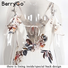 BerryGo Floral print ruffles chiffon maxi dresses Strap v neck split beach summer dress Sexy backless women dress long vestidos
