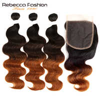 Rebecca Ombre Bundles With Closure 1B/4/30 Brazilian Body Wave Bundles With Closure Non Remy Human Hair 3 Bundles With Closure