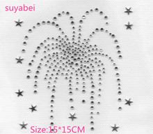 2pc/lot Star Rhinestone Iron On Transfer Hot fix firework patches hot rhinestone motif designs  applique