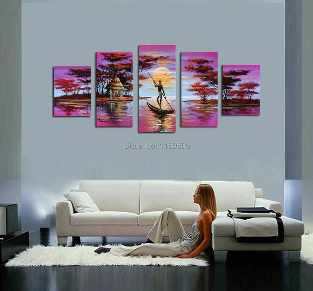 High Quality Oil Painting Purple African Tribal National People Life ...