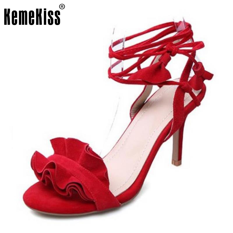 KemeKiss Sexy Lady Genuine Leather High Heel Sandals Bowtie Summer Shoes Cross Strap Sexy Sandal Female Footwear Size 34-39 faux leather cross strap sandals