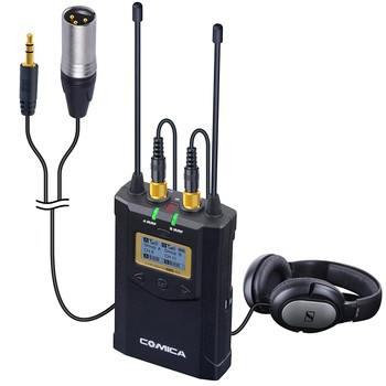 COMICA CVM-WM100 PLUS UHF 48-Channels Mono/Stereo Wireless Camcorder Microphone Kit for Canon Nikon Panasonic Sony,Smartphone