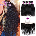 Peruvian Deep Curly Hair 4 Bundles With Lace Frontal Peruvian Virgin Hair Deep Wave Ear To Ear Lace Frontal Closure With Bundles