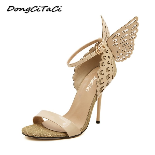 f70c8d0dde16 DongCiTaCi summer dream Butterfly high heels sandals shoes woman party  wedding nightclub ladies peep toe sexy pumps shoes buckle