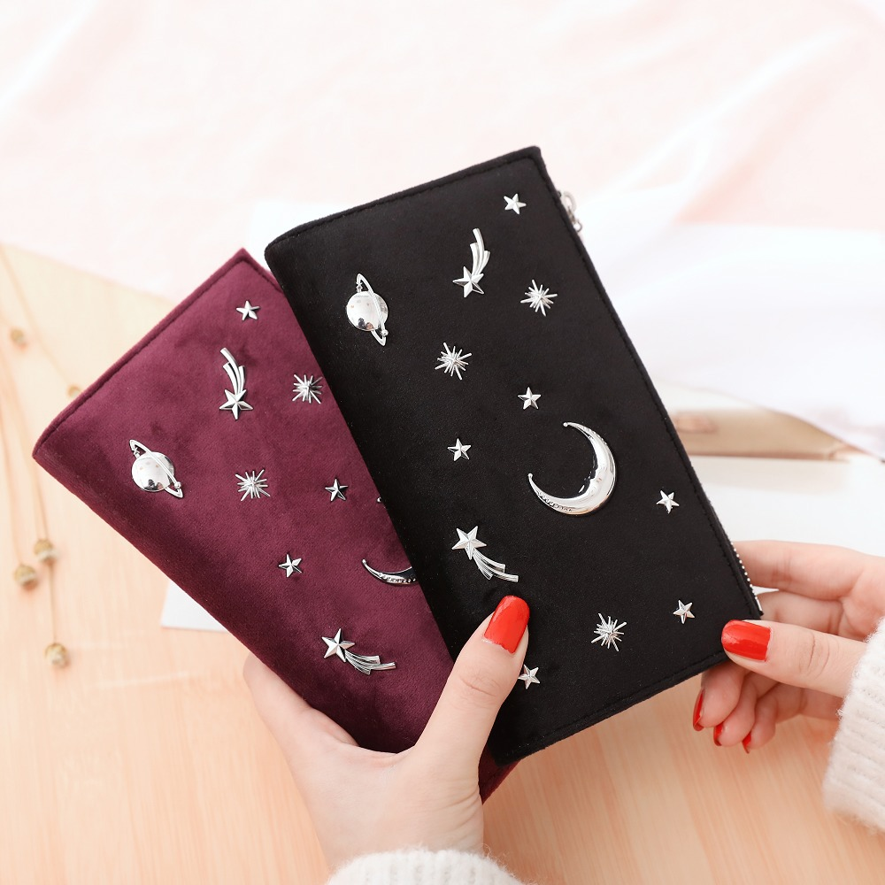 Long Women Wallet Female Slim Purse PU Leather Change Card Holder Coins Purses Zipper Light Star Moon Velour Large Carteira /5