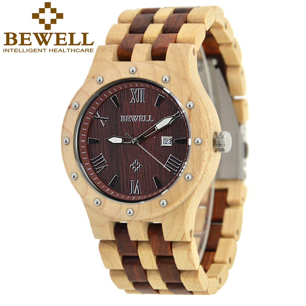 Top Brand BEWELL Wood Watch Men Wooden Vintage Mens Watches Three Dial Date Display Quartz Repair Kit Wrist Watch Gifts Box 109A