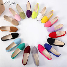 9b1c489a6 Mhysa 2019 زائد حجم 35-43 النساء الشقق الانزلاق على حذاء مسطح لون الحلوى  امرأة وأشار قارب الأحذية المتسكعون فو الجلد المدبوغ الس.