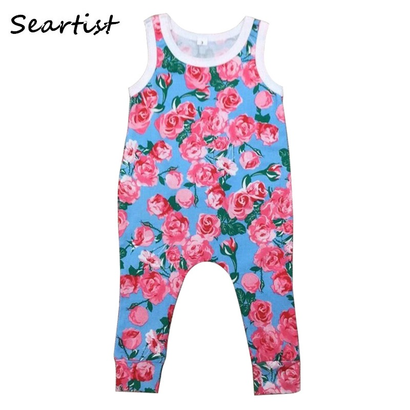 Baby Boys Girls Harem Romper Newborn Summer Cotton Tank Jumpsuit Kids Drop Crotch Fashion Floral Jumper 2018 New 40G