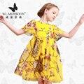 Meninas Vestidos de Verão Do Bebê Meninas Roupa Dos Miúdos Vestidos de monção Limão Impressão Princesa Partido Da Menina Vestido de Algodão Crianças Se Vestem 23