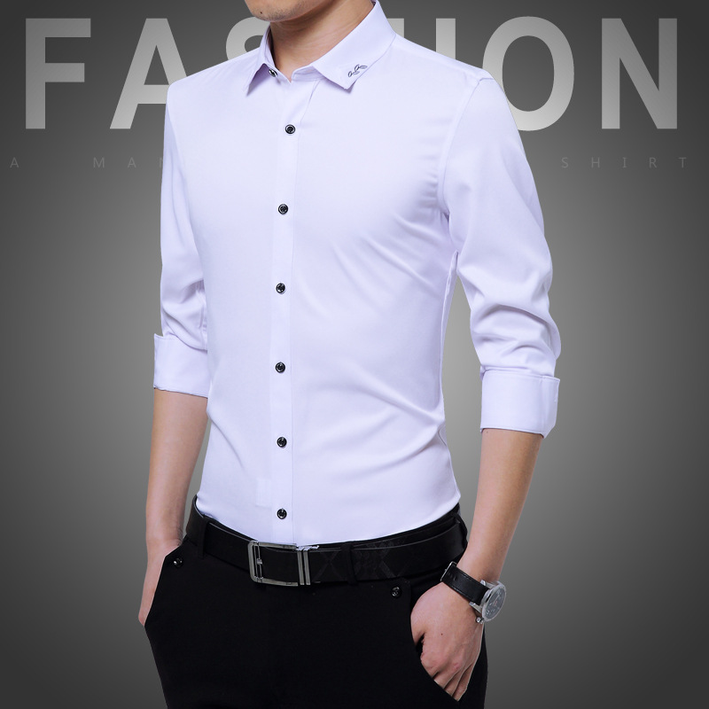 iRicheraf Men Solid Plus Size 3XL 4XL 5XL Non Ironing Formal Shirt Long Sleeve Mens Dress Shirts Slim Fit for Business Man White in Dress Shirts from Men 39 s Clothing