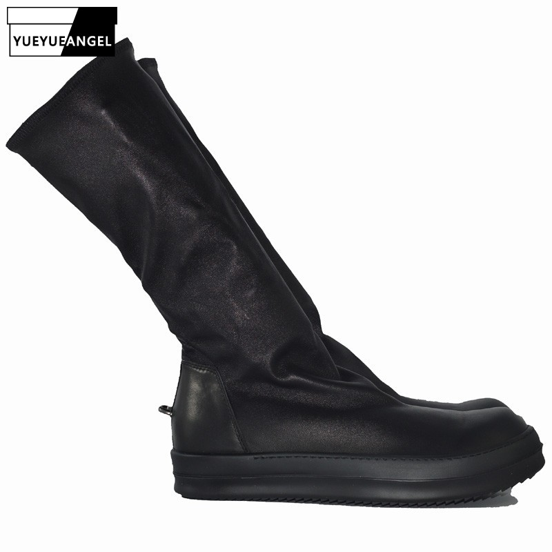 Men Sock Shoes Mid-Calf Boots Genuine Sheepskin Luxury Trainers Winter Casual Sneakers Lovers Flats Platform Shoes Plus Size 45