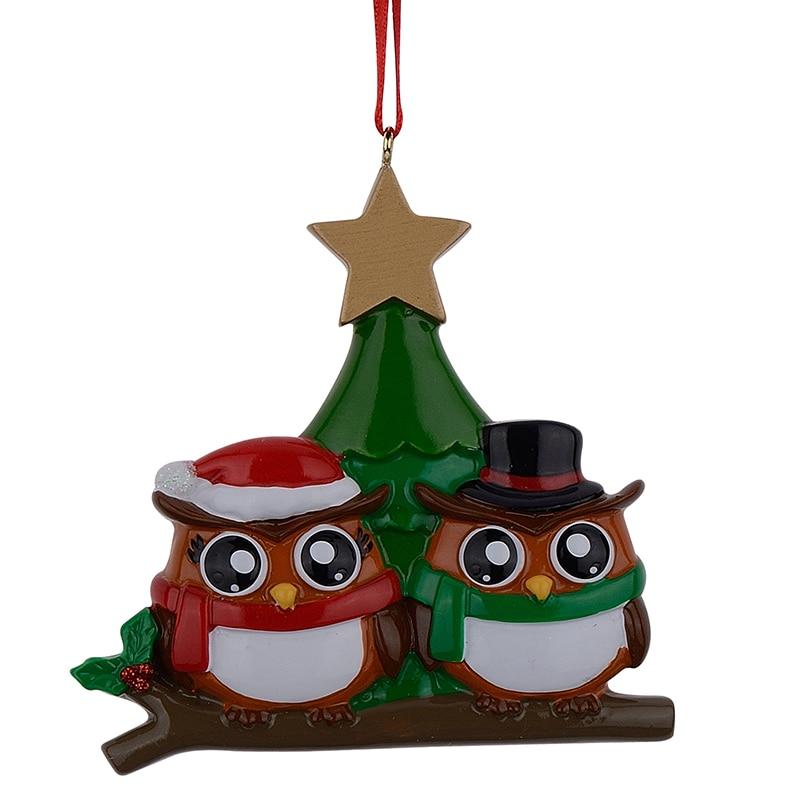 Familia de búhos de 2 adornos navideños personalizados de brillante - Para fiestas y celebraciones - foto 1