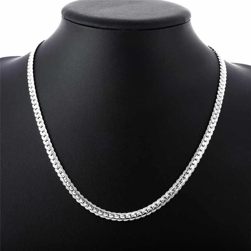 Silber 925 Schmuck Set für Frauen Mode 5mm Kette Halsketten Armband 2 stücke Hochzeit Braut Kostüm Schmuck Sets Feine bijoux