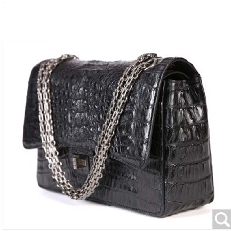 MSHG Crocodile skin Female bag messenger bag chain small side package Han version of fashion Lady single Shoulder Bag black concept of vortex female student individuality creative watch han edition contracted fashion female table