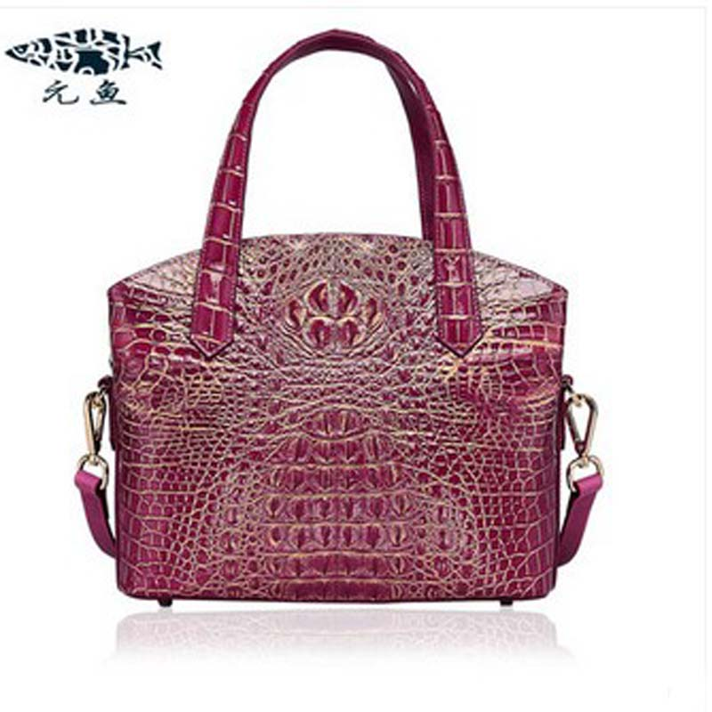 yuanyu The new lady crocodile leather handbag  high-end single shoulder bag women handbag real crocodile leather bag yuanyu real snake skin women bag new decorative pattern women chain bag fashion inclined single shoulder women bag