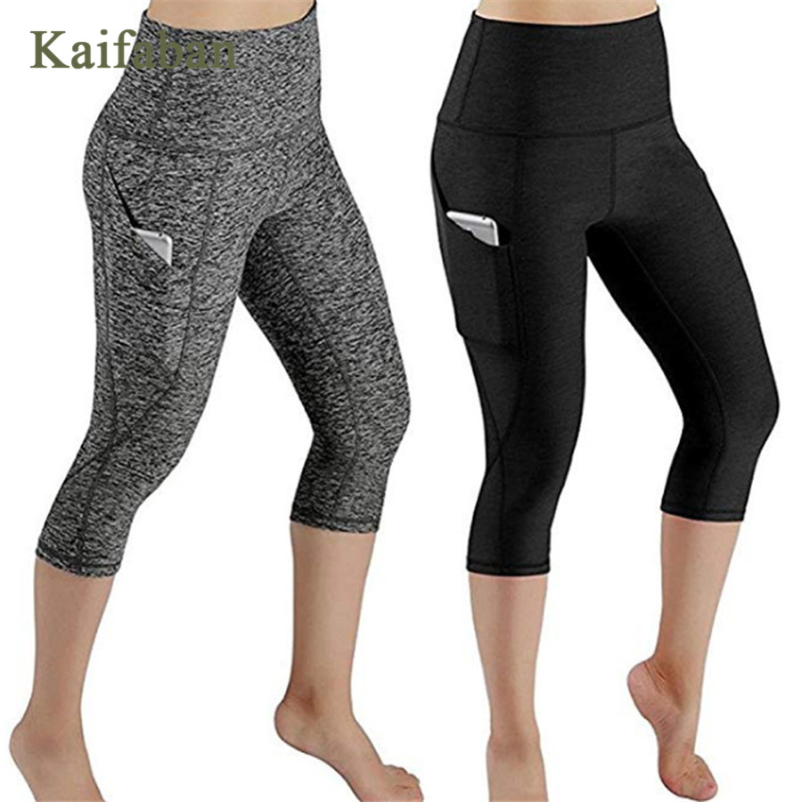 S-2XL Women Plus Size Side Pocket Fitness Leggings Yoga Pants Tights High waist Running Capris Workout Gym Clothing Sportswear