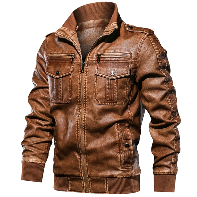 Military Army Mens Motorcycle Leather Jackets Coats Stand Collar Multi-pocket Pu Leather Coat European size S-XXL Dropshipping 4
