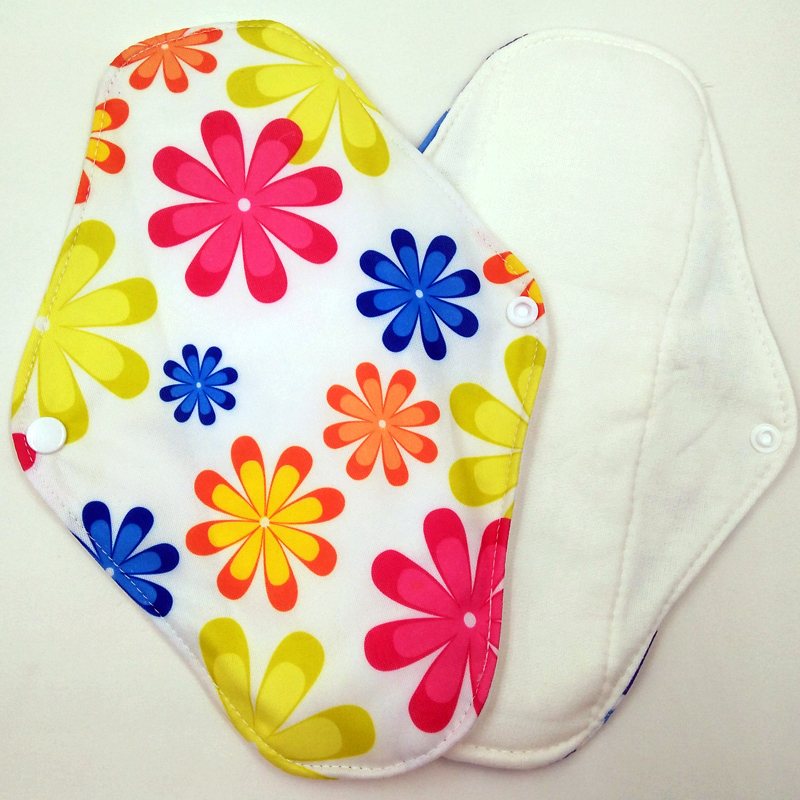 Free shipping 5pcs lady reusable cloth pads with bamboo cotton inner cloth day night pads menstrual