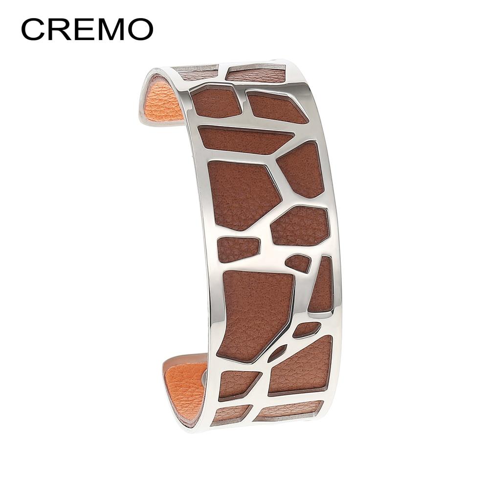 Cremo Giraffe Bangles Bracelets Femme manchette Cuffs Stainless Steel Bracelet Reversible Interchangeable Leather Band Pulseiras