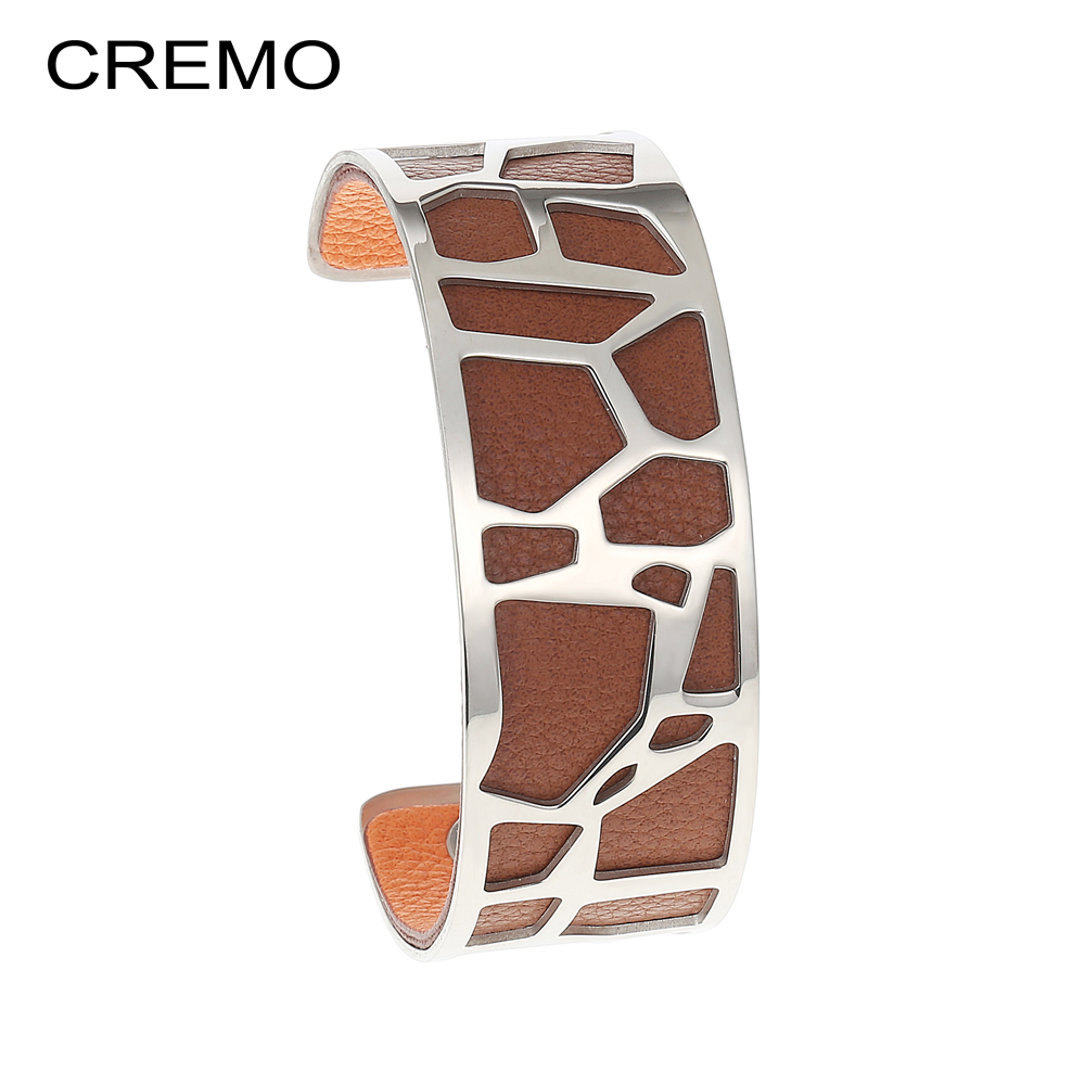 Cremo Giraffe Bangles Bracelets Femme manchette Cuffs Stainless Steel Bracelet Reversible Interchangeable Leather Band Pulseiras