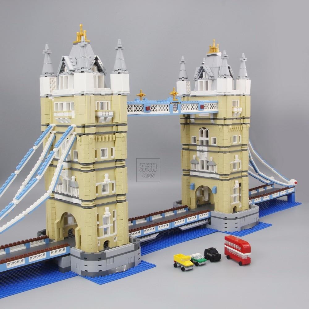 LEPIN 17004 4295Pcs Creator Expert London Tower Bridge Model Building Kits Blocks Bricks fun Toys Gift Compatible legoed 10214 in stock new lepin 17004 city street series london bridge model building kits assembling brick toys compatible 10214