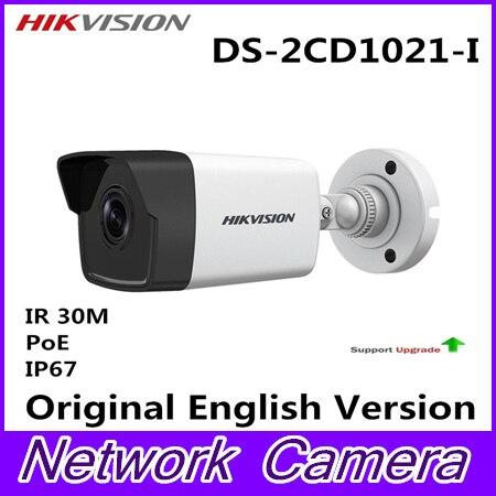 цена POE Bullet DS-2CD1021-I IP Camera Outdoor Day/Night Vision Security Camera alarm system for home videcam serveillance system онлайн в 2017 году