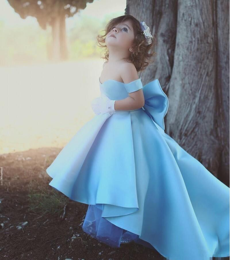 2018 Cute High Low Flower Girl Dresses Sky Blue Off Shoulder Pageant Dress Bow Girl's Gowns For Wedding Birthday Party Dresses F
