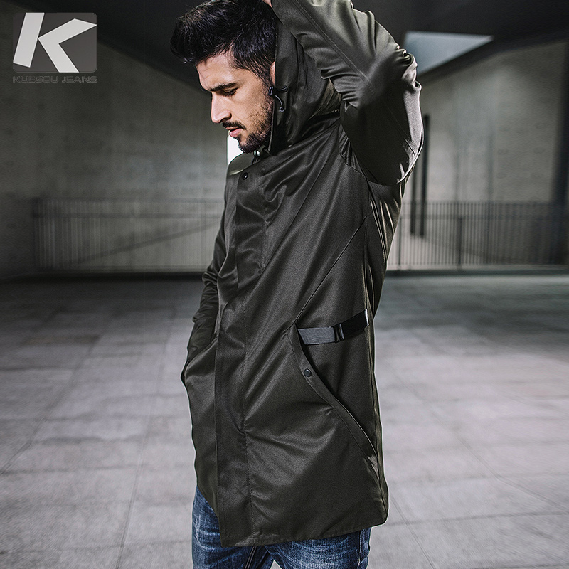 KUEGOU New Autumn Mens Hooded Trench Spliced Green Color Long Coats Clothing Mans Slim Overcoat Male Windbreaker Jackets 3840