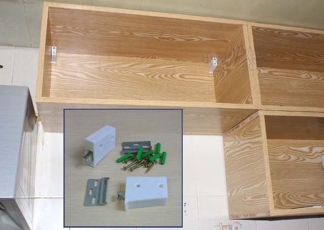 2 Pieces Dapur Kabinet Gantung Braket Putih Sudut Penjepit Dinding