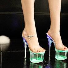 Steel Tube Dancing Fluorescence Shine Shoes Women 2018 Summer New High Heel Peep Toe Nightclub Sandals 17.5cm Waterproof 7.5cm steel tube dancing shoes women 2017 summer new high heel peep toe sandals 18cm thick the bottom waterproof 8 5cm nightclub shoe