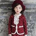 2015 Девушки комплект Одежды Плед пиджак + юбка 2 шт. с длинными рукавами осенью Детская одежда набор детей костюм бесплатная доставка